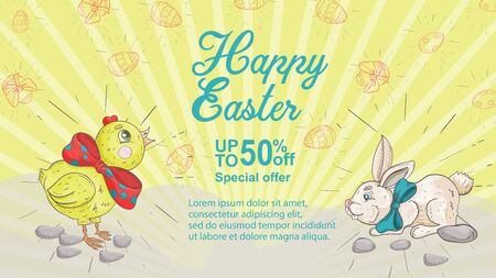 Easter banner, discount up to fifty percent, special offer, chicken and rabbit with bows look at the inscription, in the style of childrens Doodle illustration, for design design vector EPS 10