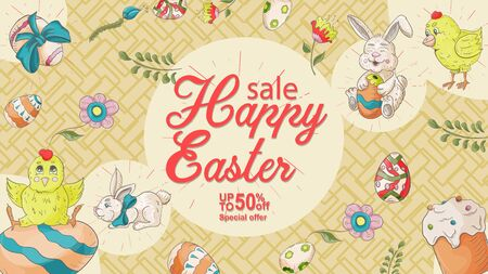 Easter banner, discount up to fifty percent, special offer, chicken and rabbit with bows, eggs painted, flowers in the style of childrens Doodle illustration, for design design vector EPS 10