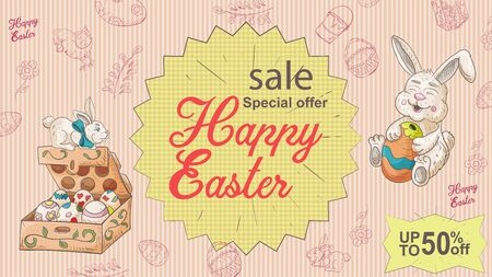 Easter banner, up to fifty percent discount, special offer, a box of colored eggs, and a sitting rabbit, in the style of a childrens Doodle illustration, for the design design vector EPS 10