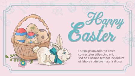 Easter holiday greeting banner, a rabbit sitting next to a basket with colored eggs, in the style of childrens Doodle inscription for congratulations frame vector EPS 10 Ilustração