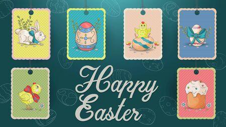 Set of festive Easter tags, illustration in the style of childrens Doodle cake, rabbits, painted eggs, greeting inscription, elements for design design label vector EPS 10 Ilustração