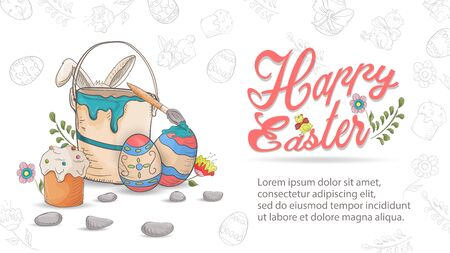 Easter holiday greeting banner, bucket with paint for colored eggs, in the style of childrens Doodle inscription for congratulations on a white background, vector EPS 10 Ilustração