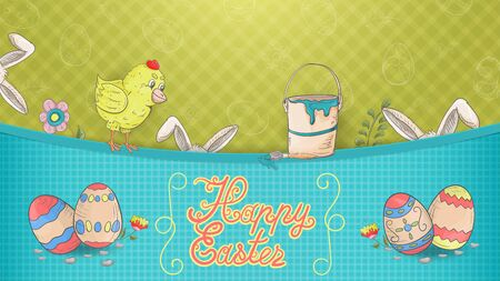 Easter banner with an inscription for congratulations in the style of childrens Doodle, paint bucket, chicken painted eggs and rabbit ears sticking out of the pocket for feeding the design vector EPS 10 Ilustração