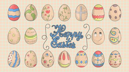festive Easter set, colored eggs in the style of childrens illustration, Doodle, for decoration design vector EPS 10