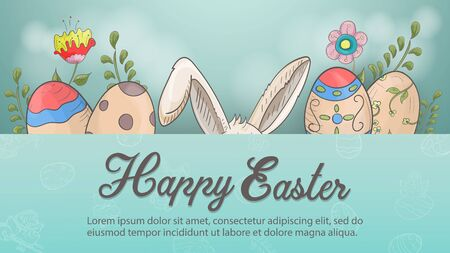 Easter holiday banner, greetings, rabbit ears, colored eggs flowers in the style of childrens Doodle, greeting inscription, space for text, vector EPS 10 Ilustração