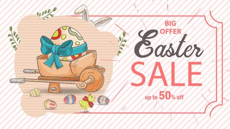 Easter advertising banner special offer sale, in the style of childrens Doodle, wheelbarrow among colored eggs inscription and frame, vector EPS 10
