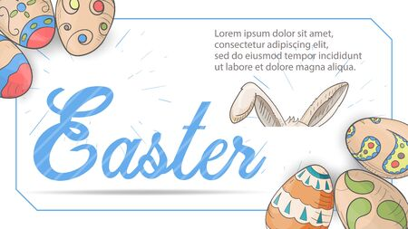 Easter banner for design design colored eggs, in style, childrens Doodle, inscription, place for text, rabbit ears, on a white background in a blue frame, vector EPS 10