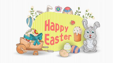 Easter holiday banner for the design of a wheelbarrow with an egg and a rabbit stand near the inscription congratulations, in the style of childrens Doodle, vector EPS 10 Ilustração