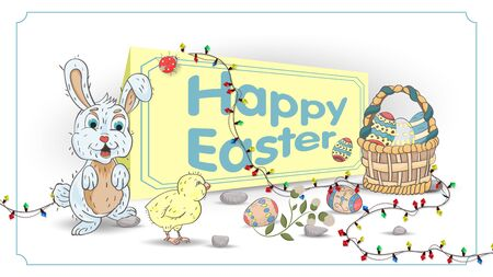 Easter holiday banner for decoration design colored eggs in a basket, rabbit and chicken, in style, childrens Doodle, garland, greeting inscription, vector EPS 10 Ilustração