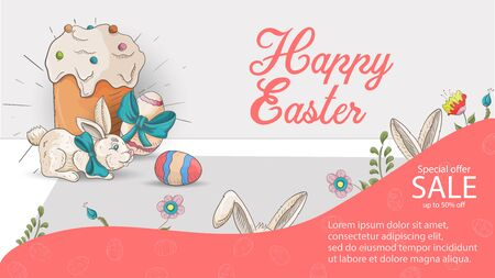 Easter advertising banner special offer sale, in the style of childrens Doodle, a small rabbit sitting next to a cake and eggs, vector EPS 10