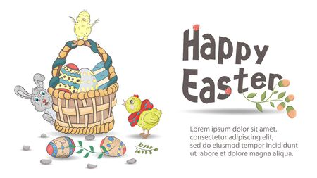 Easter holiday banner for design design a large basket with painted eggs, next to it chickens and a rabbit in the style, childrens doodles, a place for text, vector EPS 10