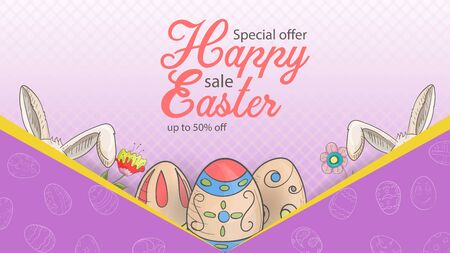 Easter advertising banner special offer sale, in the style of childrens Doodle, a kind of envelope from which rabbit ears and painted eggs stick out, on a pink background, vector EPS 10 Ilustração