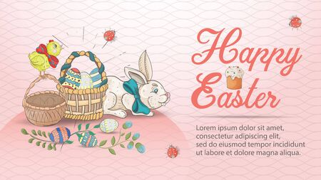 Easter holiday banner with the inscription congratulations, in the style of childrens Doodle, a rabbit sitting next to two baskets for colored eggs, pink background, for design decoration vector EPS 10