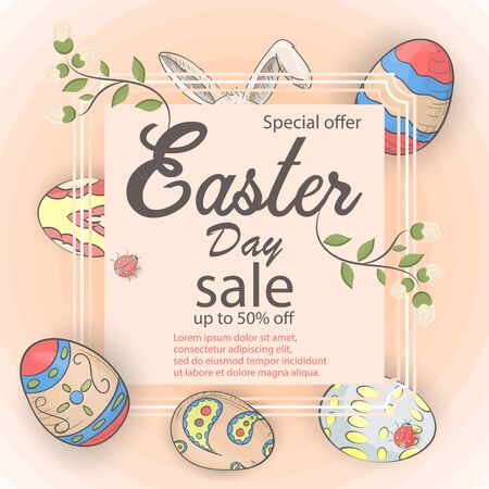 Easter holiday banner, special offer sale, in the style of childrens Doodle, square frame with colored eggs, for decoration design vector EPS 10