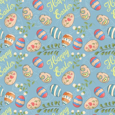 Easter holiday seamless illustration pattern contour color drawing eggs plants in Doodle style for decoration design background isolated vector