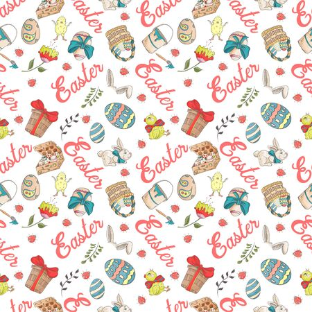 Easter holiday seamless illustration pattern color drawings depicting holiday attributes and greetings inscription in the style of Doodle for design design background is isolated vector