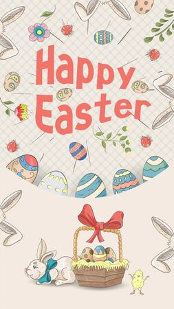 Easter holiday banner illustration with an inscription for congratulations in the style of childrens doodles for design design, the inscription in perspective colored eggs basket gray background, vector EPS 10