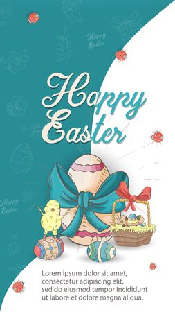 Easter holiday banner illustration with an inscription for congratulations in the style of childrens doodles for design design, a painted egg with a bow on a blue white background is divided in half, vector EPS 10
