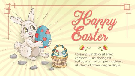 Easter holiday banner illustration with an inscription for greetings in the style of childrens Doodle for design design, a rabbit holding a painted egg in a frame, vector EPS 10