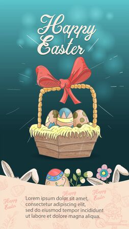 Easter holiday banner illustration with an inscription for congratulations in the style of childrens doodles for design design, basket with colored eggs dark blue background rabbit ears, vector EPS 10