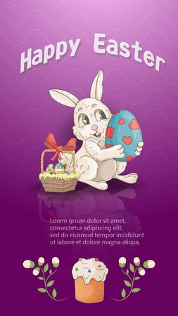 Easter holiday banner illustration with an inscription for greetings in the style of childrens Doodle for design decoration, a small rabbit holding a painted egg mirror image pink background, vector EPS 10 Ilustração