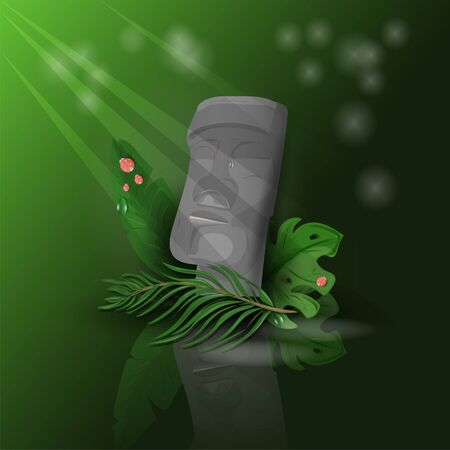 illustration of a head from Easter island on a dark green background among tropical leaves with reflection from the floor with rays of light Illustration