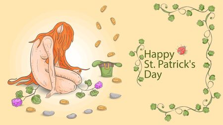 illustration outline, colored banner with St. Patrick's day, in the style of a Doodle, a dwarf girl with red long hair, sitting in front of a hat in which gold coins fall vector