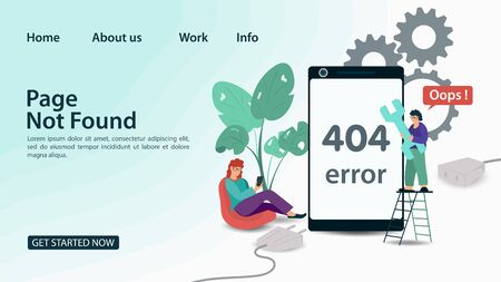 Banner, Oops, 404 error, page not found , Internet connection problems, little people trying to reconnect, for smartphone, for websites and mobile apps, Flat vector illustration