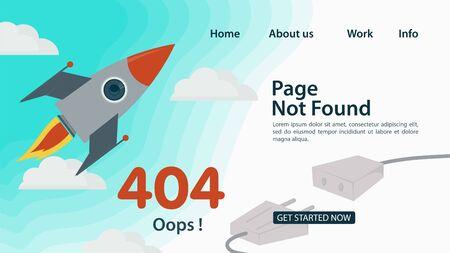 Banner, Oops, 404 error, page not found , Internet connection problems, rocket flying in clouds in the sky, for websites and mobile apps, Flat vector illustration Ilustração