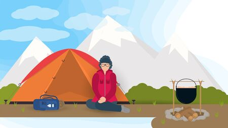 Banner for design, summer camping in nature, a girl sitting on her knees near a tourist tent against the background of mountains , flat vector illustration