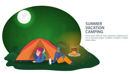 Banner, for the design of a summer camping , a girl lies in a tourist tent , and a black guy is sitting next to a campfire, against the background of a night city , vector illustration