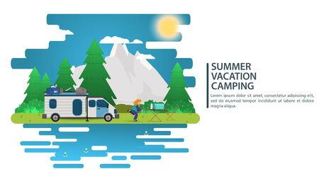 Sunny day landscape, illustration in flat cartoon style, people came by car to the camp site, mountains, forest, Background for summer camp natural tourism camping or Hiking, design concept