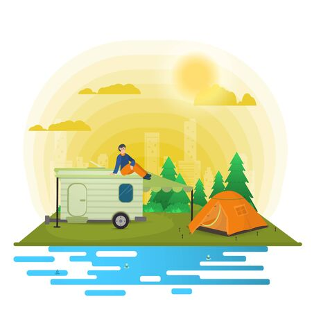 Sunny day, landscape, Background for summer camp nature tourism camping or Hiking, web design concept, man sitting on the roof of a trailer, motor homes, flat vector illustration