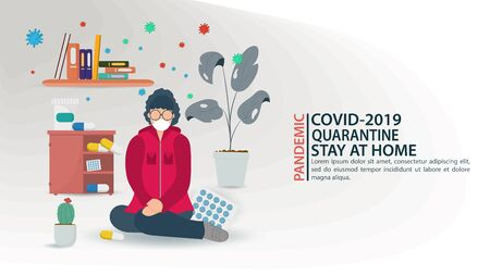 banner, little people in a mask, kneeling on the floor, among medicines, in quarantine, among COVID-2019 molecules, virus 2019-nCoV, flat vector illustration