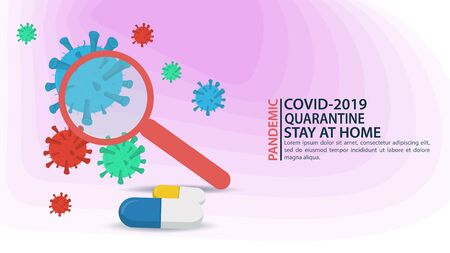 banner, large magnifying glass aimed at molecules, covid-2019 virus, 2019-nCoV, flat vector illustration