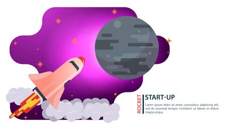 banner, space ship, Shuttle, flying in space to a large gray planet, for web and mobile design sites, flat vector illustration 向量圖像