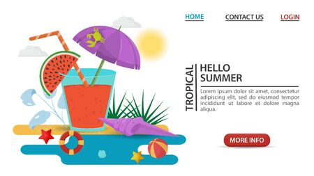 web page design concept, summer vacation, a glass of drink juice with a watermelon slice and an umbrella, stands on a sandy beach, flat vector illustration cartoon Stock Illustratie