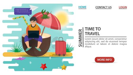 web page design concept, banner, summer vacation, a person communicates working on a laptop sitting on a large coconut, on a sandy beach, flat vector illustration cartoon