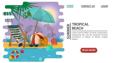 web page design concept, banner, summer vacation, people talking working on a laptop sitting on a slice of watermelon, on a sandy beach, flat vector illustration cartoon