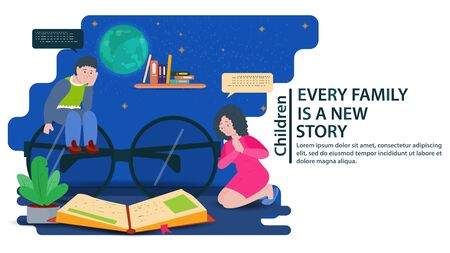 My father is sitting on big glasses, my mother is on her lap, looking at a book, a concept for banner design and websites and postcards, vector flat illustration Stock Illustratie