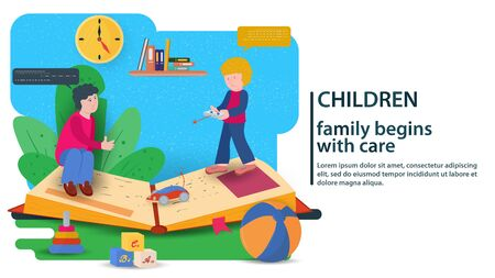 Two little boys playing, on a large open book, concept for banner design and websites and postcards, vector flat illustration Stock Illustratie