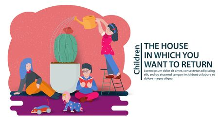 Small children sit near a large flower, a cactus, and a girl waters it, a concept for the design of banners and websites and postcards, vector flat illustration