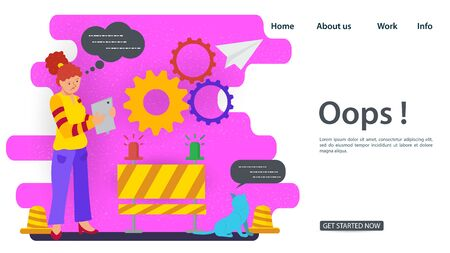 Banner, Oops, 404 error, page not found, Internet connection problems, girl with phone standing next to a barrier, for websites and mobile apps, Flat vector illustration