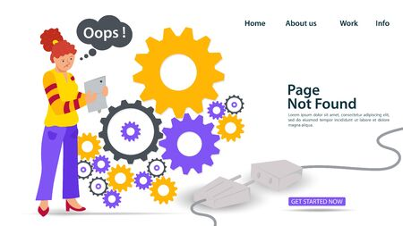 Banner, Oops, 404 error, page not found, Internet connection problems, Girl with phone is about gears, for websites and mobile apps, Flat vector illustration