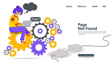 Banner, Oops, 404 error, page not found, Internet connection problems, girl with glasses and laptop sitting on gears, for websites and mobile apps, Flat vector illustration