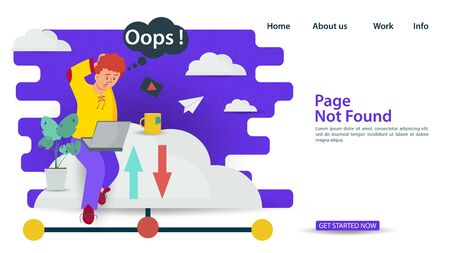 Banner, Oops, 404 error, page not found, Internet connection problems, Man sitting on cloud with laptop, for websites and mobile apps, Flat vector illustration