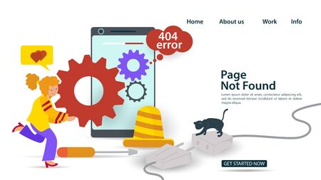 Banner, Oops, 404 error, page not found, Internet connection problems, Girl rolls a gear in the phone, for websites and mobile apps, Flat vector illustration