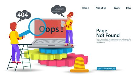 Banner Oops, 404 error page not found, Internet connection problems, Guy and girl standing near laptop on gears, for websites and mobile apps, Flat vector illustration