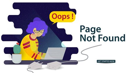Banner, Oops, 404 error, page not found, Internet connection problems, Girl with glasses looking at laptop, for websites and mobile apps, Flat vector illustration