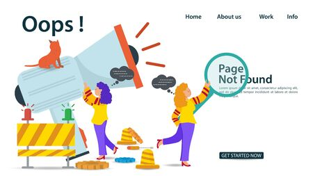 Banner, Oops, 404 error, page not found, Internet connection problems, Girls holding megaphone and magnifying glass, for websites and mobile apps, Flat vector illustration Иллюстрация